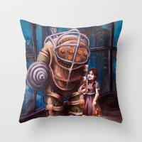 bioshock Throw Pillows featuring Bioshock by Emily Blythe Jones