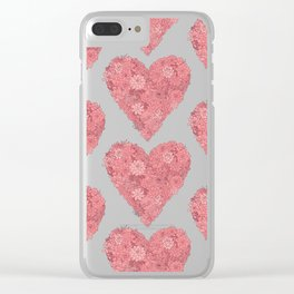 Pink Succulent Heart Clear iPhone Case