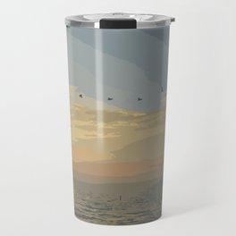 Shore Bird Silhouette Sunset  Travel Mug