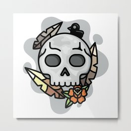 skull and feathers Metal Print