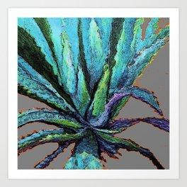 ABSTRACTED WESTERN DESERT BLUE AGAVE ON ORANGE Art Print