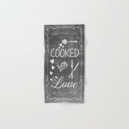 Cooked with Love Retro Chalkboard Sign Hand & Bath Towel