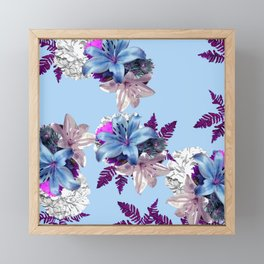 LILY SILVER BLUE AND PURPLE WITH WHITE HYDRANGEAS Framed Mini Art Print