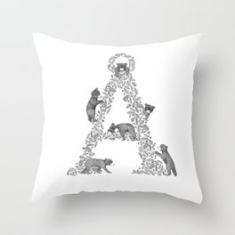 Bearfabet Letter Å Throw Pillow