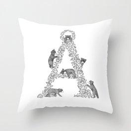 Bearfabet Letter Å Throw Pillow