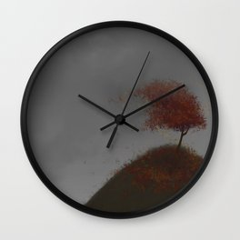 Standing Strong in a Fall Wind Wall Clock