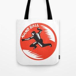 Handball Player Jump Striking Circle Woodcut Tote Bag