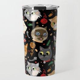 Neighborhood Cats in Black Travel Mug