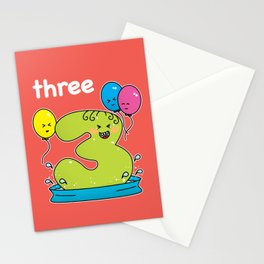 Number 3 birthday Stationery Cards