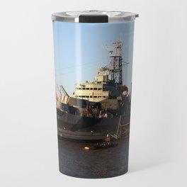 HMS Belfast on the Thames Travel Mug