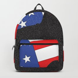 Guitar Silhouette Over Flag Backpack