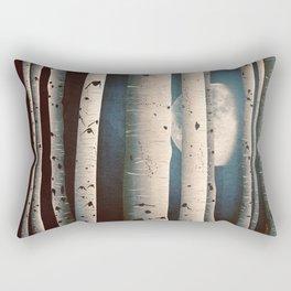Birch wood at night Rectangular Pillow
