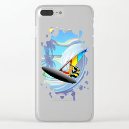 Windsurfer on Ocean Waves Clear iPhone Case