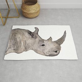 Watercolor Rhino Rug