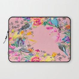 Stardust Pink Floral Birds Motif Laptop Sleeve