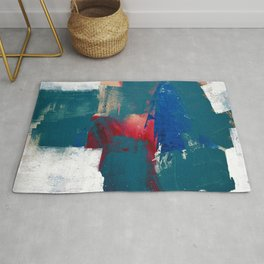 0923: a mixed media piece in teal red and blue by Alyssa Hamilton Art Rug