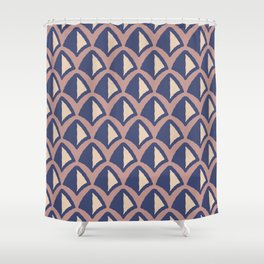 Classic Hollywood Regency Pyramid Pattern 234 Blue Brown and Beige Shower Curtain