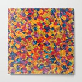 Colorful Half Hexagons Pattern Metal Print