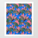 Retro Luxe Lilies Electric Blue Pattern by katrinaward