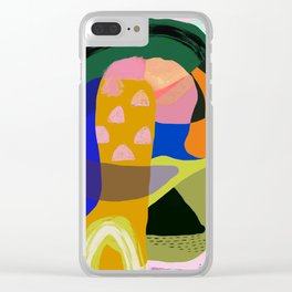 Shapes and Layers no.20 - Abstract painting olive green blue orange black Clear iPhone Case