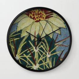 White Flower Cactus Wall Clock