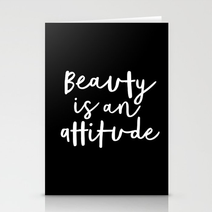 Beauty is an Attitude black and white monochrome typography poster design home wall bedroom decor Stationery Cards