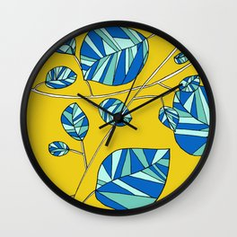 Mustard Yellow and Blue Whimsical Drawing by Emma Freeman Designs Wall Clock