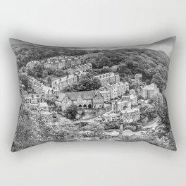 Hebden Bridge From Afar (B&W) Rectangular Pillow