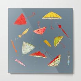 Parapluie bleu Metal Print