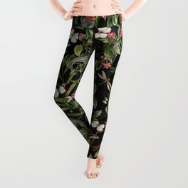 Vintage & Shabby Chic - Iguana And Insects Tropical Animals And Flowers Night Garden Leggings