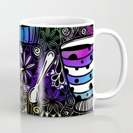 Coffee and Tea Time with flowers, swirls & rainbow background Coffee Mug