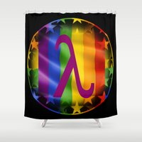 lesbian Shower Curtains featuring Sappho Lesbian Symbol by SwanniePhotoArt