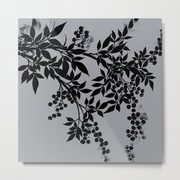 TREE BRANCHES BLACK AND GRAY LEAVES AND BERRIES Metal Print