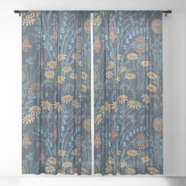 Dolce Donum Blue Floral by Walter Crane Sheer Curtain