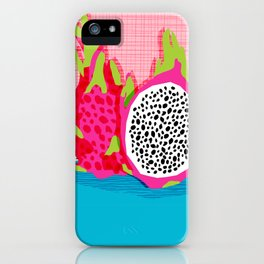 Hard Core - memphis throwback retro neon tropical fruit dragonfruit exotic 1980s 80s style pop art iPhone Case
