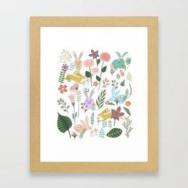 Springtime In The Bunny Garden Of Floral Delights Framed Art Print