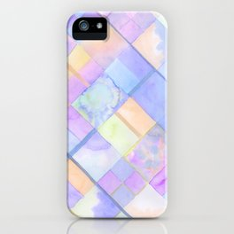 Geometric Watercolor Oranges and Blues iPhone Case