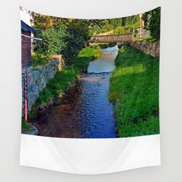 A river, a bridge and lots of green   waterscape photography Wall Tapestry