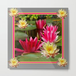 FUCHSIA PINK & YELLOW WATER LILIES Metal Print