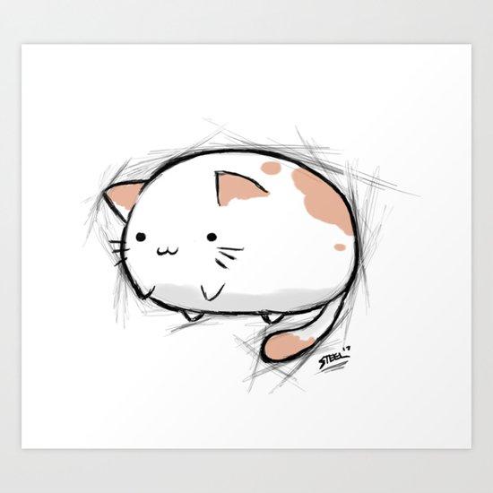 Fat Kawaii Cat Art Print