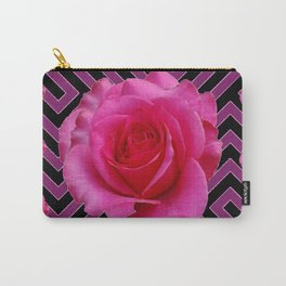 FUCHSIA PINK ROSES ON PUCE-BLACK GRAPHIC Carry-All Pouch
