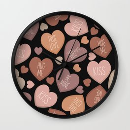 Creative language of hearts in seamless pattern Wall Clock