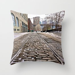 Brooklyn Bridge snow Dumbo Throw Pillow