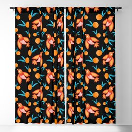 Little pretty swallows birds with spread wings and sunny bright juicy ripe oranges retro pattern Blackout Curtain