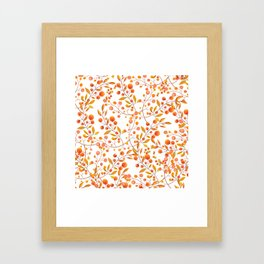Hand painted orange gold fall berries floral Framed Art Print