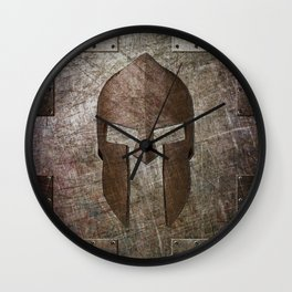 Molon Labe - Spartan Helmet on Riveted steel Wall Clock