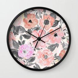 Elegant simple watercolor floral Wall Clock