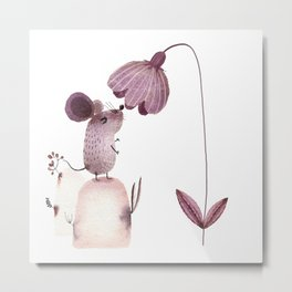 Mouse smelling a flower Metal Print