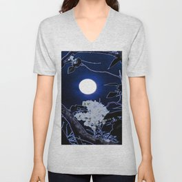 Mystical Moon and Viburnum Unisex V-Neck