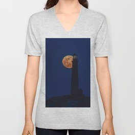 Full blue moon behind Thacher island lighthouse Unisex V-Neck